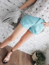 高含棉質感個性刷破反褶短褲.5色