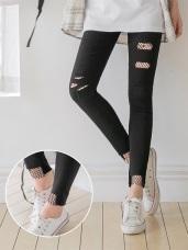 造型刷破拼接網狀內裡彈性窄管褲