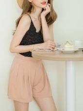 質感純色打褶設計短褲.3色