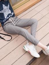 抽腰綁帶縮口設計休閒長褲