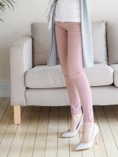 設計感開釦點綴鬆緊腰頭純色彈力高腰窄管褲.4色