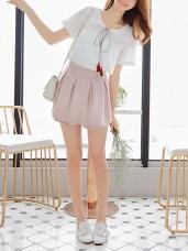素色打褶設計後腰鬆緊短褲裙.3色