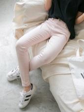 腰圍鬆緊開釦設計素面多色彈性窄管褲.5色