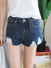 經典刷色褲襬破損抽鬚造型單寧短褲.2色
