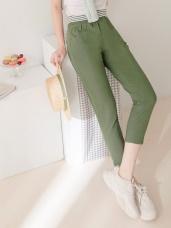 多色素面腰鬆緊綴橫條造型高含棉彈性七分褲