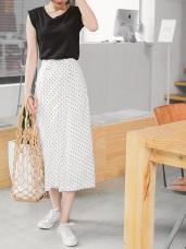 點點圖案綴金屬圓環後腰鬆緊層次拼接造型褲裙.2色