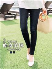 質感刷色側車縫線造型腰圍鬆緊牛仔窄管長褲.2色