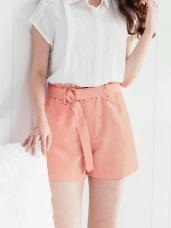 附腰帶純色水洗棉麻質感高腰短褲.4色