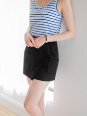 台灣製造.柔綿斜裁設計腰圍鬆緊口袋褲裙.2色