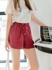 質感純色抽腰綁帶造型棉麻短褲.2色