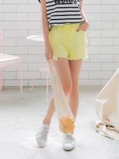 純色破損感抽腰綁帶拼接車線抽鬚下襬修飾短褲.4色