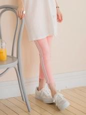 多色腰圍鬆緊側邊壓條不收邊褲管造型彈性窄管褲.5色