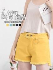 多色斜紋抽鬚鐵環造型短褲‧5色
