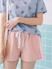 鬆緊抽腰綁帶兩側拼色織帶休閒短褲.3色