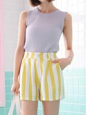 配色直條紋後腰鬆緊打褶造型短褲.2色