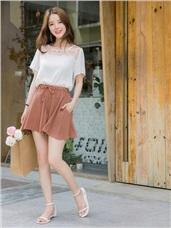 質感純色抽腰綁帶造型傘襬雪紡短褲.2色