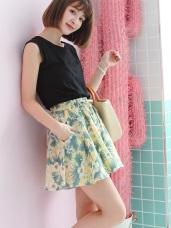 腰圍鬆緊綁帶甜美花朵印花棉麻質感A字短褲裙.2色