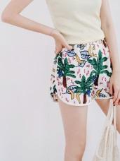 腰圍鬆緊水玉點點/椰樹印花休閒短褲.2色