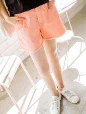 質感純色後腰鬆緊打褶抽鬚造型短褲.5色