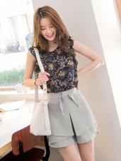 質感純色蝴蝶結綴珍珠造型腰圍鬆緊片裙設計短褲.2色