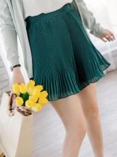 腰圍鬆緊透光感純色雪紡百褶褲裙.2色