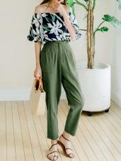 荷葉邊後腰鬆緊打褶設計純色高含棉高腰老爺褲.2色