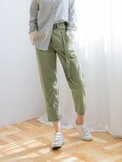 高含棉腰帶鬆緊褲頭八分打褶寬褲.3色