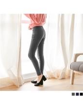 素色腰收腹鬆緊設計彈性窄管長褲.3色