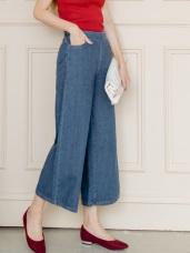 高含棉仿牛仔質感雙口袋打摺造型寬褲