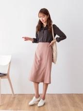素面金屬環綁帶後腰鬆緊寬裙褲.2色