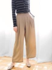 打褶輕柔素色寬版長褲