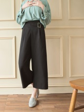 素面方型環造型寬版長褲