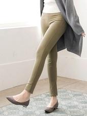 口袋小設計造型側邊車線內磨毛彈性窄管褲