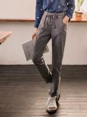 素色拼接剪裁綁帶直筒褲