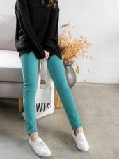 素色內刷毛造型口袋窄管褲