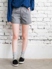 素色打褶反褶短褲