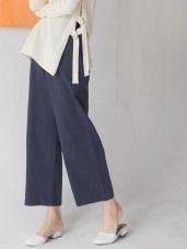 舒適高含棉素面寬版褲
