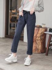 高含棉點點拼色斜口袋設計寬褲