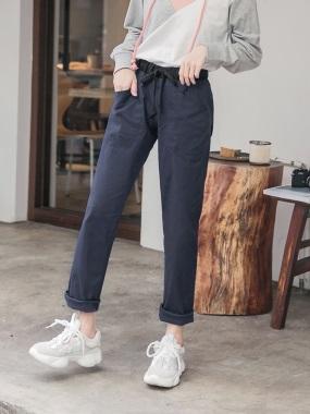 點點拼色斜口袋設計寬褲