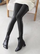 鬆緊腰頭皮革拼接磨毛窄管褲
