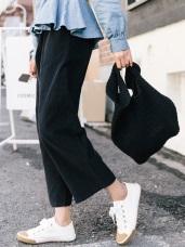 高含棉素色休閒高腰寬褲