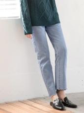 高含棉褲管小抽鬚直筒牛仔褲