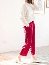 高含棉腰抽繩配色車線寬褲