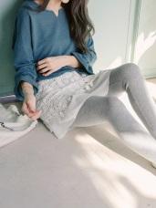 磨毛蕾絲雕花拼接假兩件內搭褲
