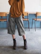 英倫格紋設計磨毛七分寬版褲