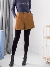 高含棉水洗反褶造型短褲