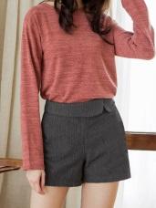 羊毛毛呢腰反摺細直紋短褲