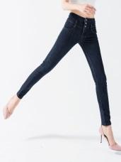 高腰釦飾造型緊身牛仔窄管褲