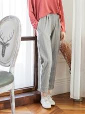 高含棉針織布直紋褲管反褶老爺褲