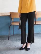 蕾絲側邊下襬設計喇叭寬版褲
